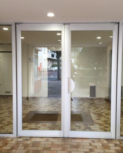 Porte entrée d'immeuble technal PH Titane ©preciselec